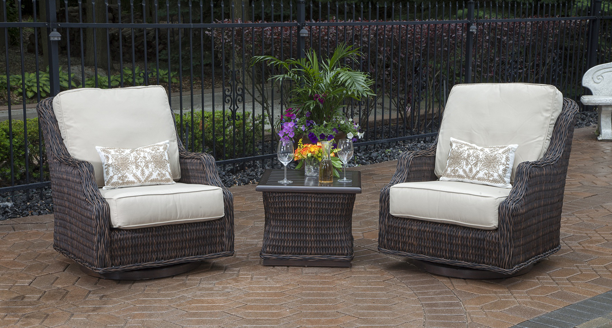 person all weather wicker patio furniture chat set w swivel chairs