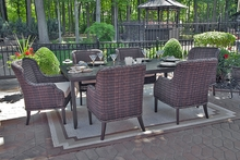Mila Collection 6-Person All Weather Wicker Luxury Patio Furniture Dining Set