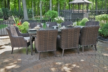 Mila Collection 8 Person All Weather Wicker Luxury Patio Furniture Dining Set
