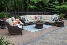 Mila Collection 9-Piece All Weather Wicker Patio Furniture Deep Seating Set W/Stationary Club Chairs