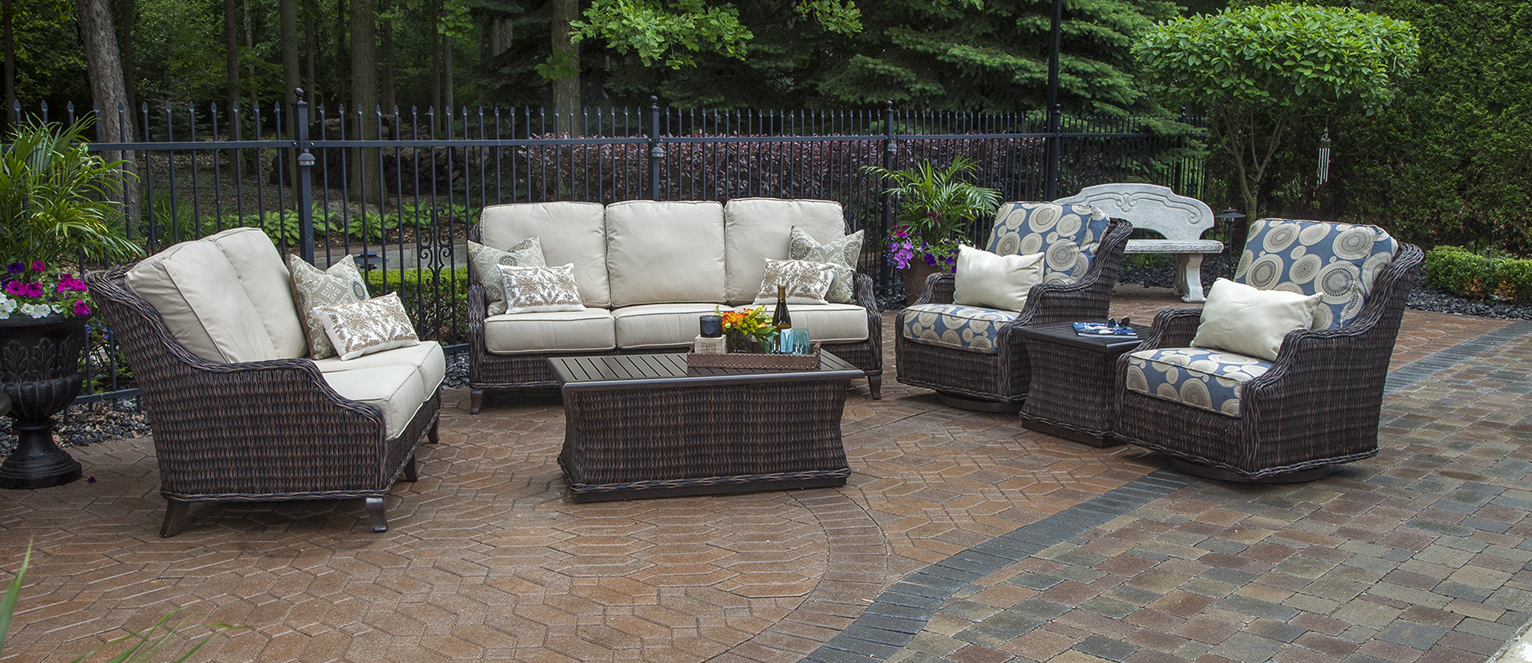 Mila Collection All Weather Wicker Patio Furniture Deep Seating Set W Swivel