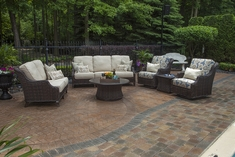 Mila Collection All Weather Wicker Patio Furniture Deep Seating Set W/Swivel Club Chairs