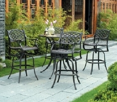 Newport By Hanamint 4-Person Luxury Cast Aluminum Bar Height Set W/Swivel Chairs
