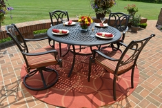 The Renata Collection 4-Person All Welded Cast Aluminum Patio Furniture Dining Set With Swivel Chairs