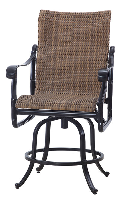 ... By Gensun Woven High Back Patio Furniture Swivel Counter Height Chair