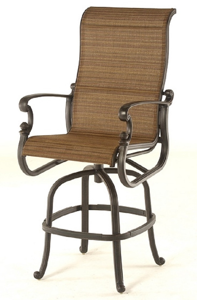 St. Augustine By Hanamint Luxury Cast Aluminum Patio Furniture Sling Swivel  Bar Height Chair - St. Augustine By Hanamint Luxury Cast Aluminum Patio Furniture