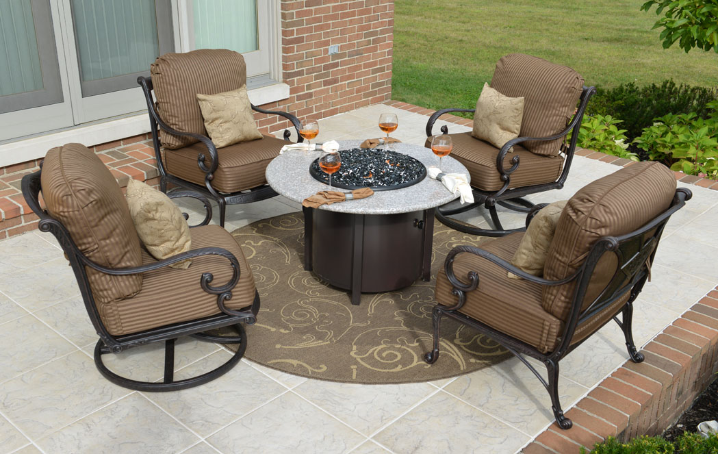 luxury cast aluminum patio furniture conversation set w fire pit