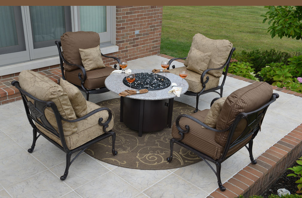 Fire Pit Table And Chairs Costco ... Aluminum Patio Furniture Chat Set W/Fire Pit And Stationary Chairs