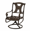 The Amalia Collection Cast Aluminum Patio Furniture Swivel Dining Chair With Cushion