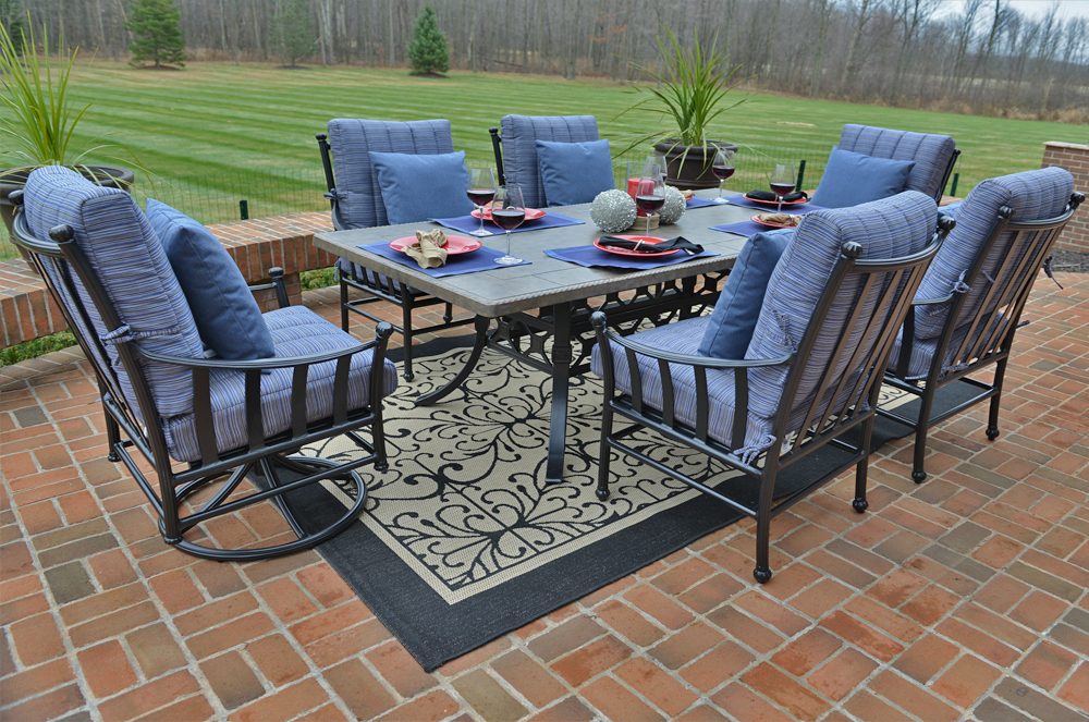 Amia Luxury 6 Person Cast Aluminum Patio Furniture Dining Set