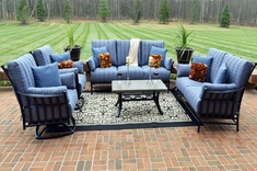 The Amia Collection 6-Piece Cast Aluminum Patio Furniture Deep Seating Set