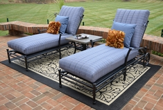 Amia 2-Person Luxury Cast Aluminum Patio Furniture Chaise Lounge Chat Set