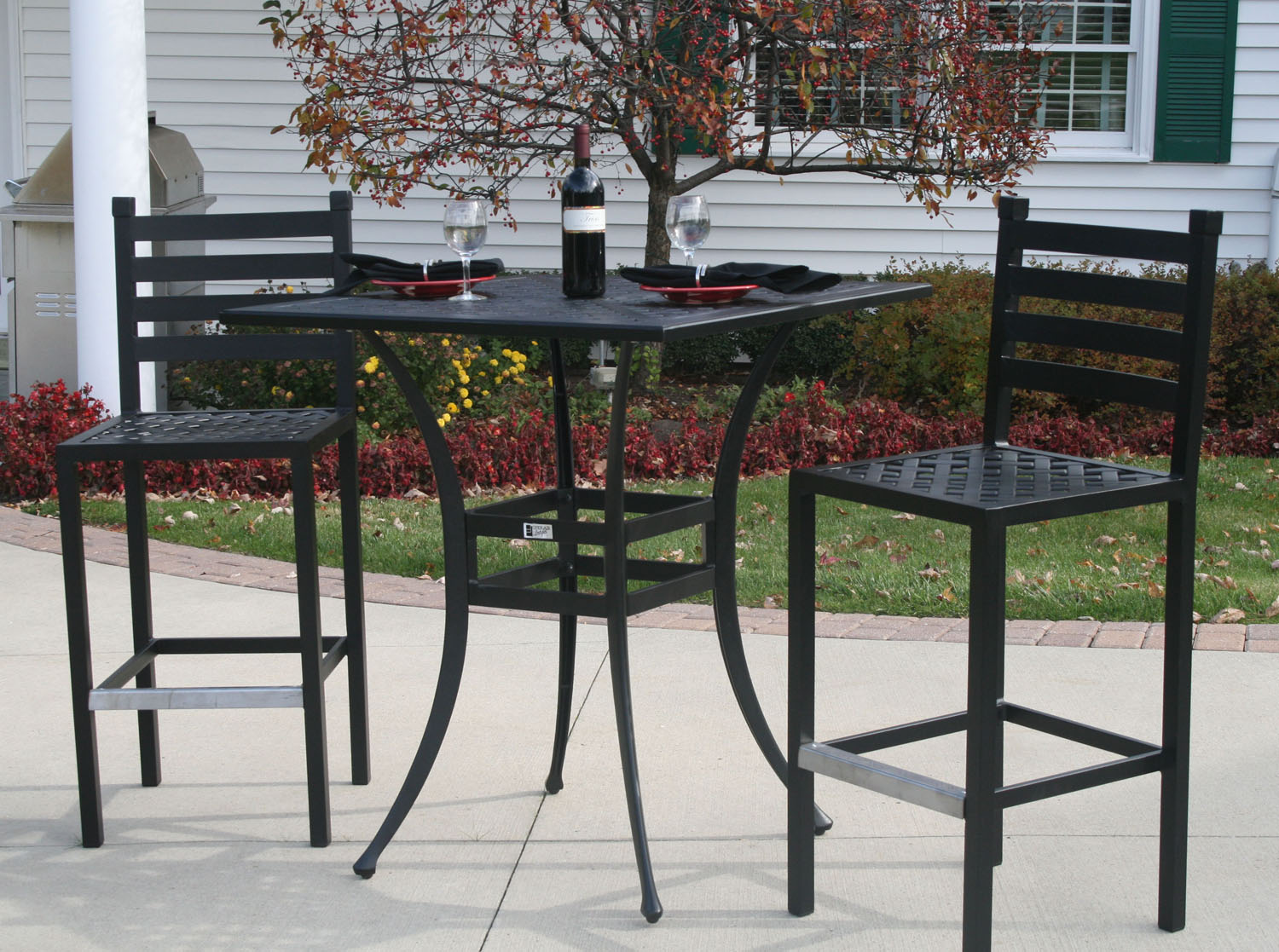 aluminum patio furniture bar height set with 36 square bar table