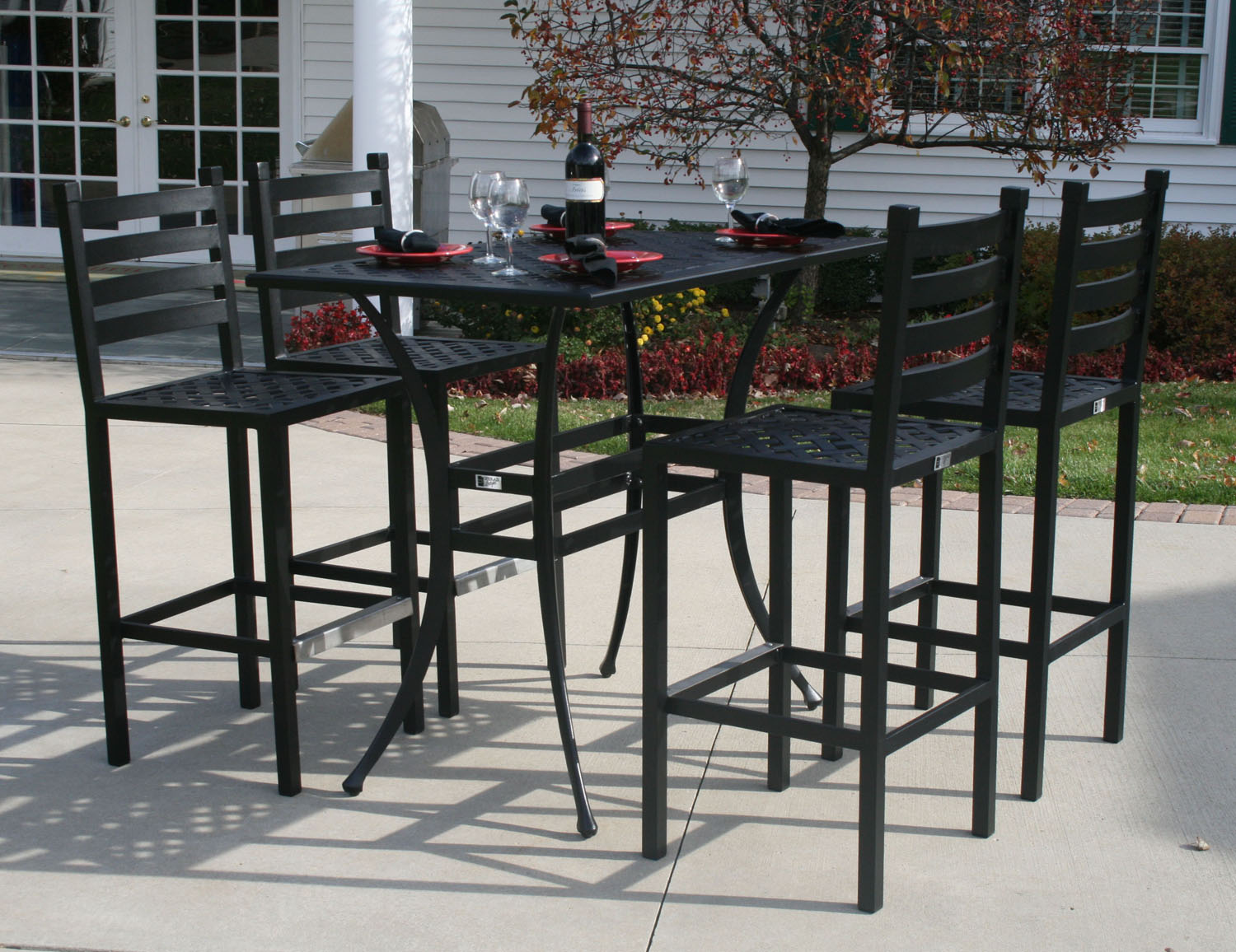 Ansley Luxury 4 Person All Welded Cast Aluminum Patio Furniture Bar Height Set