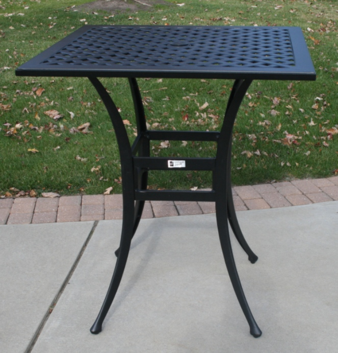 Ansley Luxury 4 Person All Welded Cast Aluminum Patio Furniture Bar Height Set W 36 Quot Square Bar