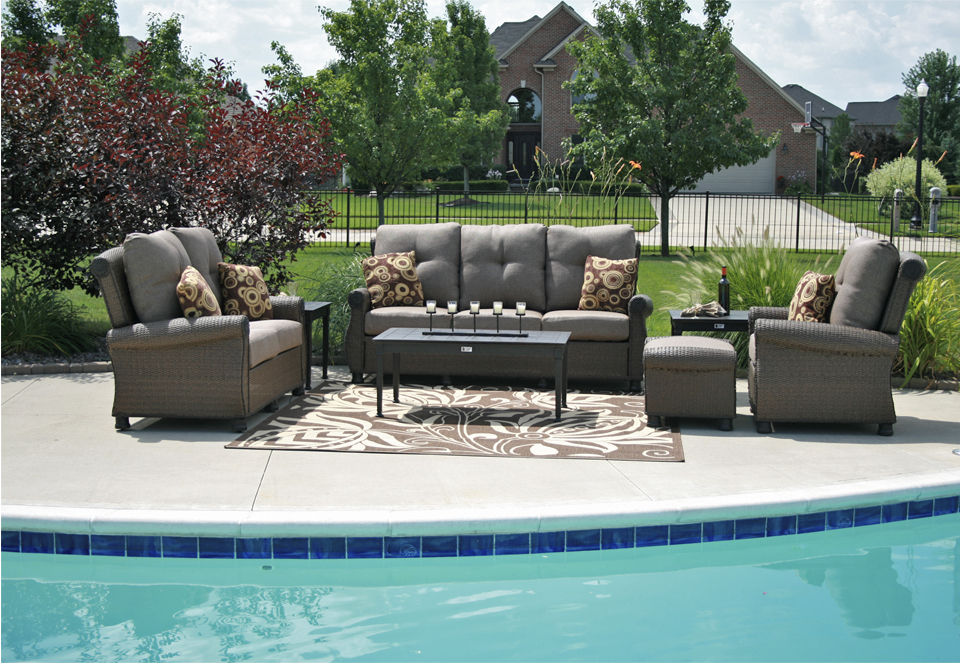 All Weather Wicker Cast Aluminum Patio Furniture Deep Seating Set