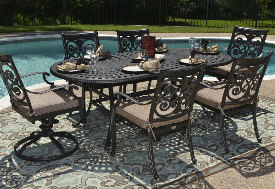 All Welded Cast Aluminum Patio Furniture Dining Set W Swivel Chairs
