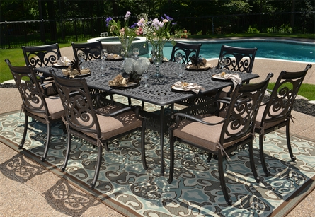 Herve Luxury 8-Person All Welded Cast Aluminum Patio Furniture Dining Set