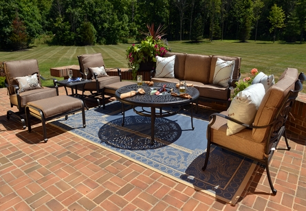 The Herve Collection 8-Piece Cast Aluminum Patio Furniture Deep Seating Set W/ Drink Table & Spring Club Chairs