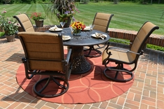 The Leda Collection 4 Person Cast Aluminum High Back Padded Sling Dining Set With Urn Base Table