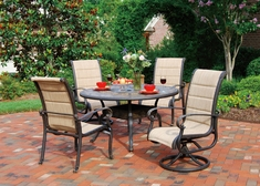 The Leda Collection 4-Person Cast Aluminum Padded Sling Patio Furniture Dining Set