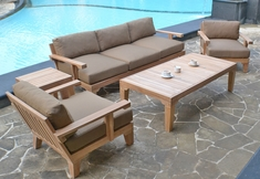 The Natori Collection 5 Piece Grade A Plantation Teak Patio Furniture Deep Seating Set