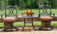 The Renata Collection 2-Person All Welded Cast Aluminum Patio Furniture Chat Set With Swivel Chairs