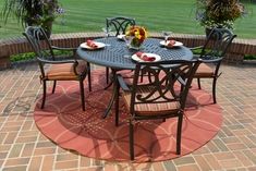 The Renata Collection 4-Person All Welded Cast Aluminum Patio Furniture Dining Set