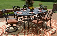 The Renata Collection 6-Person All Welded Cast Aluminum Patio Furniture Dining Set