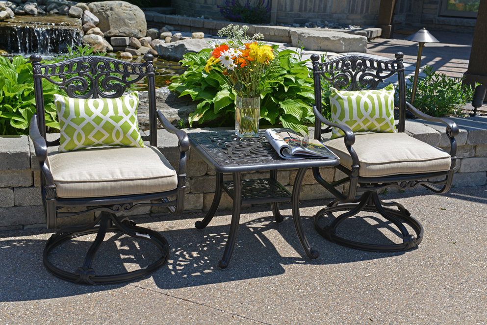 Serena Luxury 2 Person All Welded Cast Aluminum Patio Furniture Chat Set W Sw