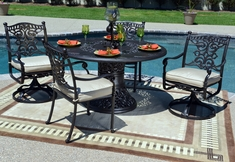 The Serena Collection 4-Person All Welded Cast Aluminum Patio Furniture Dining Set