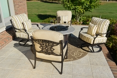 The Serena Collection 4-Person Cast Aluminum Patio Furniture Chat Set With Gas Firepit