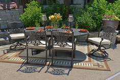 The Serena Collection 6-Person All Welded Cast Aluminum Patio Furniture Dining Set