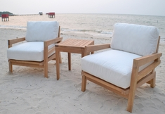 The Syna Collection 3 Piece Grade A Plantation Teak Patio Furniture Chat Set