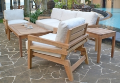 The Syna Collection 5 Piece Grade A Plantation Teak Patio Furniture Deep Seating Set