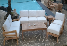 The Syna Collection 6 Piece Grade A Plantation Teak Patio Furniture Deep Seating Set