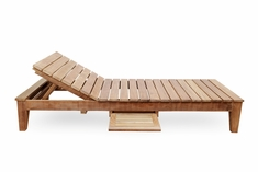 The Syna Collection Grade A Plantation Teak Patio Furniture Armless Chaise Lounge With Tray