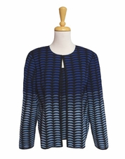 Ming Wang #M6802AC Riviera/Blue Opal/Black Knit Jacket