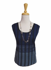 Ming Wang #M6802B Riviera/Blue Opal/Black Reversible Tank Top