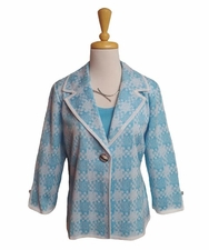 Ming Wang #M6853AC Drew Blue/White Jacket