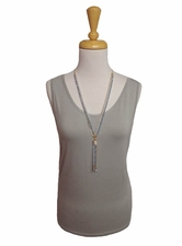 "Multiples Clothing #M17103TM ""Frosted Art"" Frost Gray Tank Top"