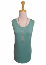 "Multiples Clothing #M17104TM ""Frosted Art"" Green Turquoise Longer Tank Top"