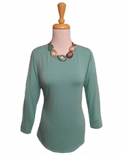 "Multiples Clothing #M17114TM ""Frosted Art"" Green Turquoise Shaped Hem Top"