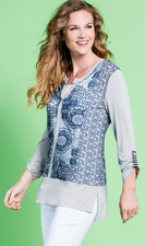 """Multiples Clothing #M17219TM """"Easy Living"""" Solid/Stripe/Print Knit Top"""