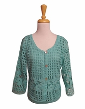 """Multiples Clothing #M17509JM """"Frosted Art"""" Green Turquoise Jacket"""