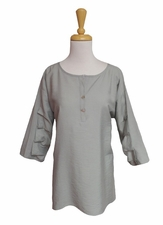 """Multiples Clothing #M17515TMgra """"Frosted Art"""" Frost Gray Crinkle Top"""