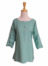 """Multiples Clothing #M17515TMturq """"Frosted Art"""" Green Turquoise Crinkle Top"""