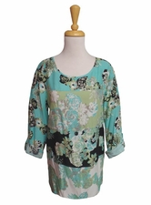 "Multiples Clothing #M17518TM ""Frosted Art"" Patched Floral Hi-Lo Top"