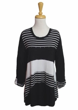 "Multiples Clothing #M17606TM ""Opposites Attract"" Black/White Uneven Hem Tunic"