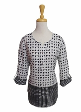 "Multiples Clothing #M17609TM ""Opposites Attract"" Black/White Tunic"